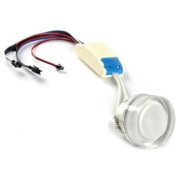 Faretto ad incasso LED RGB dimmerabile 3 watt controllo PWM 12 e 24 volt