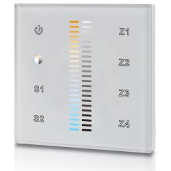 welegance tek dimm cct z4 uk rf dimmer rgbw led systems touch panel muro 4 zone 502 europa bianco